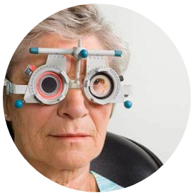 Patient having her distance Free NHS Home Eye Test, Home visiting optician, Free eye test, free glasses, mobile optician, West Midlands, Birmingham, Solihull, Dorridge, Knowle