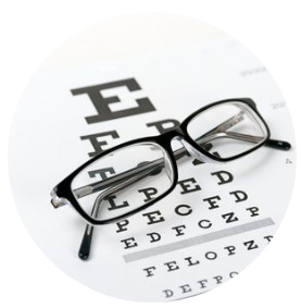 Glasses on the distance chart for a Free NHS Home Eye Test, Home visiting optician, Free eye test, free glasses, mobile optician, West Midlands, Birmingham, Solihull, Dorridge, Knowle